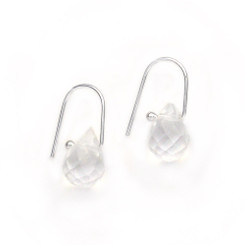 Sterling Silver Crystal Teardrop on Modern Hook Earrings, Clear