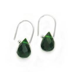 Sterling Silver Green Crystal Teardrop on Modern Hook Earrings