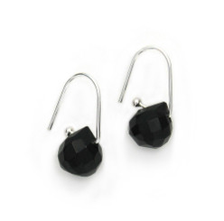 Sterling Silver Jet Black Crystal Teardrop on Modern Hook Earrings