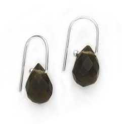 Sterling Silver Crystal Teardrop on Modern Hook Earrings, Smoke