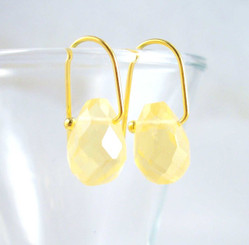 18k Vermeil Lemon Crystal Teardrop on Modern Hook Earrings