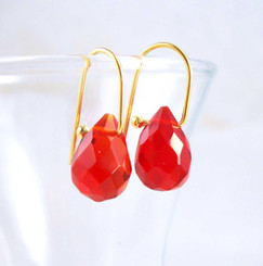 18k Vermeil Red Crystal Teardrop on Modern Hook Earrings