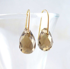 18k Vermeil Smoky Crystal Teardrop on Modern Hook Earrings
