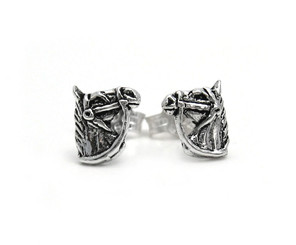 Sterling Silver Bridled Horse Head Stud Post Earrings