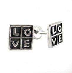 "Sterling Silver Square ""Love"" Post Earrings"