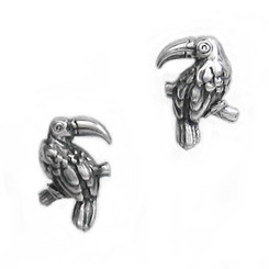 Sterling Silver Toucan Bird Stud Post Earrings