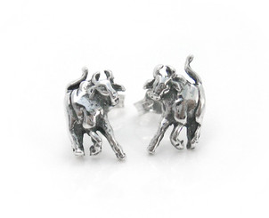 Sterling Silver Bull Stud Post Earrings