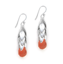 Sterling Silver Cascading Leaves and Crystal Drop Earrings, Cherry Quartz