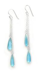 Sparkling Crystal Two Teadrops Chain Tassel Drop Earrings, Aqua