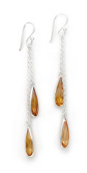 Sparkling Crystal Two Teadrops Chain Tassel Drop Earrings, Champagne