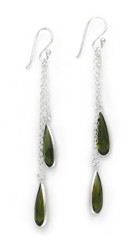 Sparkling Crystal Two Teadrops Chain Tassel Drop Earrings, Olivine