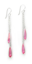 Sparkling Crystal Two Teadrops Chain Tassel Drop Earrings, Pink