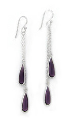 Sparkling Crystal Two Teadrops Chain Tassel Drop Earrings, Purple