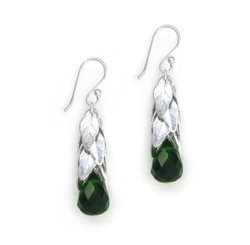 Sterling Silver Cascading Leaves and Crystal Drop Earrings, Forest Green