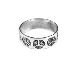 Sterling Silver Peace Sign Band Ring