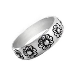 Sterling Silver Daisy Flower Band Ring