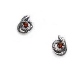 Sterling Silver Gemstones and Encircling Snakes Stud Post Earrings, Garnet