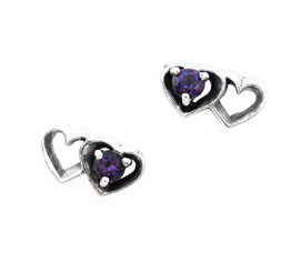 Sterling Silver Stone Double Hearts Stud Post Earrings, Purple