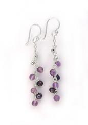 """Sterling Silver Gemstones and Pearls Beaded Chain Drop """"Bree"""" Earrings, Amethyst"""