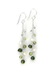 "Sterling Silver Gemstones and Pearls Beaded Chain Drop ""Bree"" Earrings, Peridot"