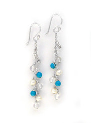 """Sterling Silver Gemstones and Pearls Beaded Chain Drop """"Bree"""" Earrings, Turquoise Howlite"""