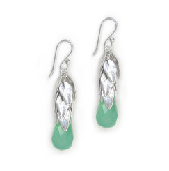 Sterling Silver Cascading Leaves and Crystal Drop Earrings, Sea Green