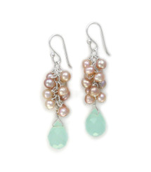 Sterling Silver Cultured Pearl Cluster Crystal Drops Earrings, Blue and Pink
