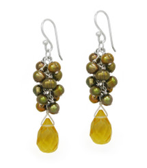 Sterling Silver Cultured Freshwater Pearl Cluster Crystal Teardrop Earrings, Golden & Yellow
