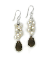 Sosi B. Sterling Silver Cultured Freshwater Pearls Cluster and Crystal Teardrop Earrings, Smoky and White