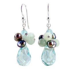 "Sterling Silver ""Candice"" Cluster & Crystal Drop Earrings, Aqua"