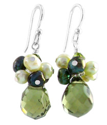 "Sterling Silver ""Candice"" Cluster & Crystal Drop Earrings, Olive"