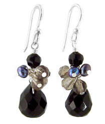 "Sterling Silver ""Candice"" Cluster & Crystal Drop Earrings, Black"