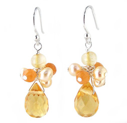 "Sterling Silver ""Candice"" Cluster & Crystal Drop Earrings, Yellow"