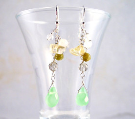 "Sterling Silver ""Prism"" Gemstone Cluster and Faceted Green Apple Quartz Drop Earrings"