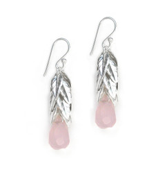 Sterling Silver Cascading Leaves and Crystal Drop Earrings, Pink