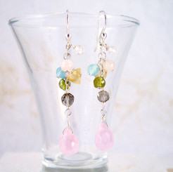 "Sterling Silver ""Prism"" Gemstone Cluster and Faceted Pink Drop Earrings"