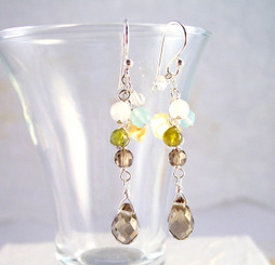 "Sterling Silver ""Prism"" Gemstone Cluster and Faceted Smoky Drop Earrings"