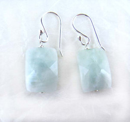 Cushion Cut Amazonite and Sterling Silver Earrings
