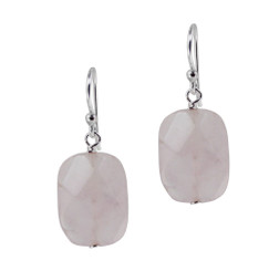 Cushion Cut Rose Quartz and Sterling Silver Earrings