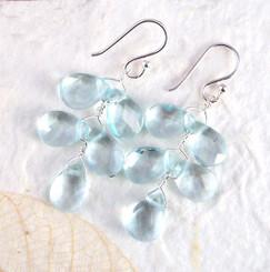 """Sterling Silver """"Fern"""" Aqua Crystal Earrings"""