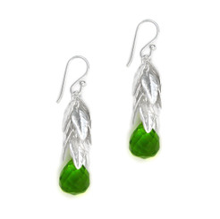Sterling Silver Cascading Leaves and Crystal Drop Earrings, Spring Green