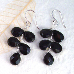 "Sterling Silver ""Fern"" Jet Black Crystal Earrings"