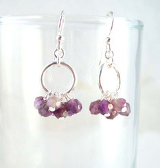 Genuine Stone Cluster Circle Sterling Silver Earrings, Amethyst
