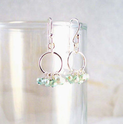 Pearl Cluster Circle Sterling Silver Earrings, Baby Blue Pearl