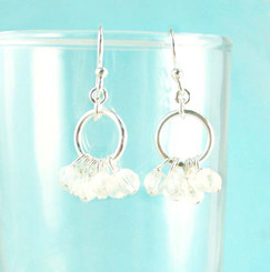 Genuine Stone Cluster Circle Sterling Silver Earrings, Clear Quartz