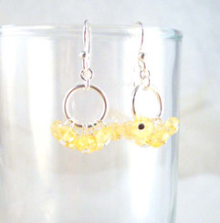 Genuine Stone Cluster Circle Sterling Silver Earrings, Citrine