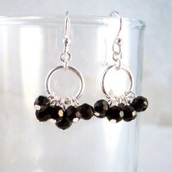 Genuine Stone Cluster Circle Sterling Silver Earrings, Onyx