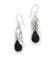 Sterling Silver Cascading Leaves and Crystal Drop Earrings, Purple