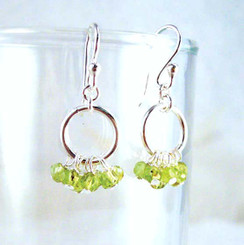 Genuine Stone Cluster Circle Sterling Silver Earrings, Peridot