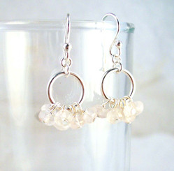 Genuine Stone Cluster Circle Sterling Silver Earrings, Rose Quartz